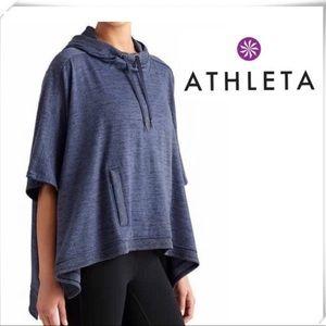 Athleta Blissful Poncho Blue Hoodie Pockets Yoga S